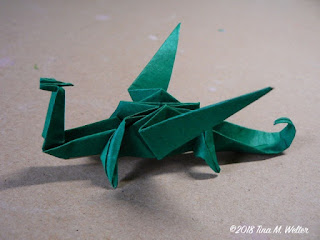 Green Dragon, photo and origami ©2018 Tina M. Welter