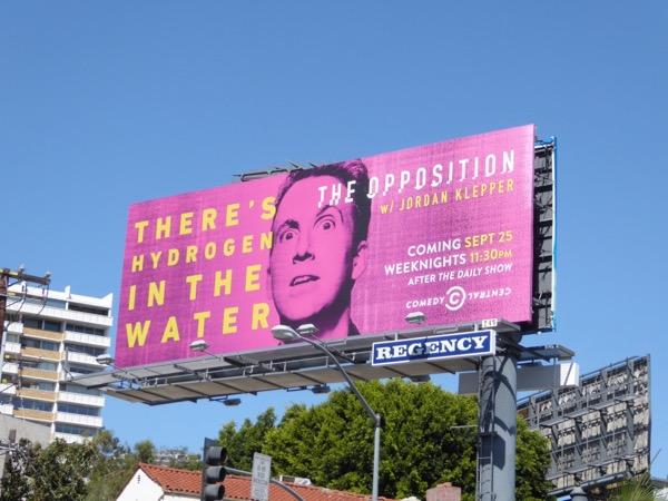 Opposition Jordan Klepper hydrogen in water billboard