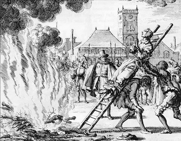 The burning of a 16th-century Dutch Anabaptist, Anneken Hendriks