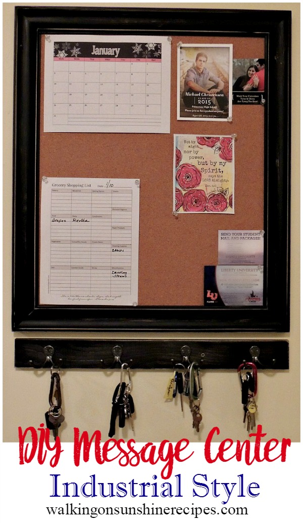 DIY Message Center from Walking on Sunshine Recipes