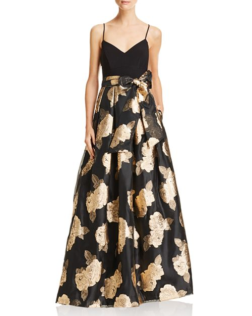 Metallic Floral Ball Gown