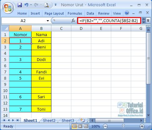 Menggunakan rumus if dalam membuat urutan nomor di excel