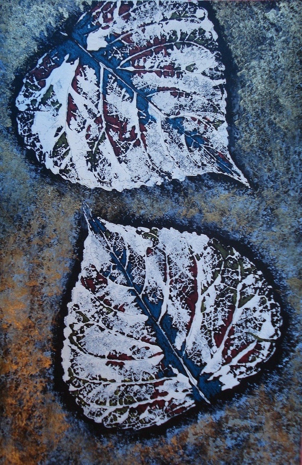 a faithful attempt: Leaf Prints with Sponged Background