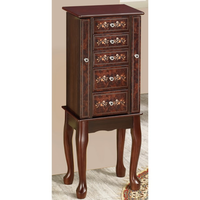 Shop Nile Corp Jewelry Armoires 5 Drawer with Floral Accents
