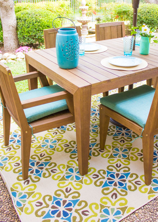 Marvelous I remend going a little bolder with your outdoor rugs than you would indoors the more color and pattern the better I loved the bright blue and green