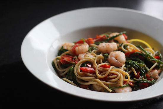 King prawn samphire spaghetti recipe