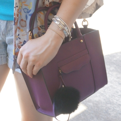 silver bracelet stack Tiffany Yondale designs, Rebecca Minkoff mini MAB tote in plum | AwayFromTheBlue