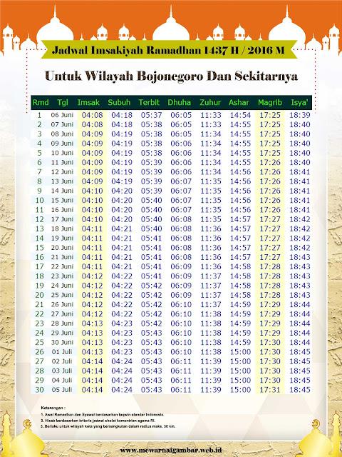 Jadwal Imsakiyah Kota Bojonegoro 1437 H 2016 M