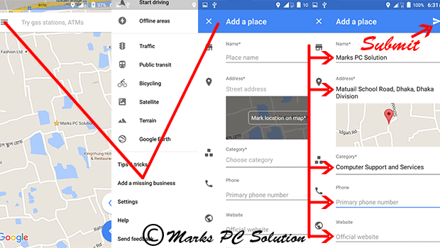 Step by Step process of adding a business to Maps