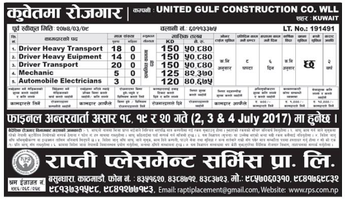Jobs in Kuwait for Nepali, Salary Rs 50,840