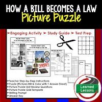 How a Bill Becomes a Law, Civics Test Prep, Civics Test Review, Civics Study Guide, Civics Interactive Notebook Inserts, Civics Picture Puzzles