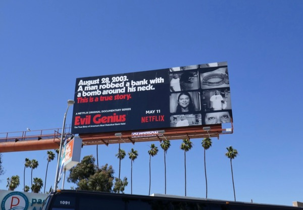 Evil Genius documentary series billboard