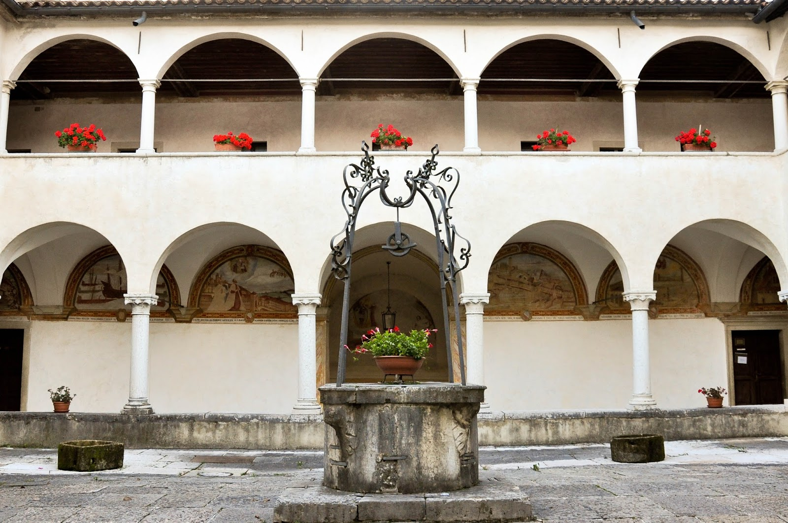 Cloister, Sanctuary of St. St. Vittore e Corona, Feltre, Veneto, Italy