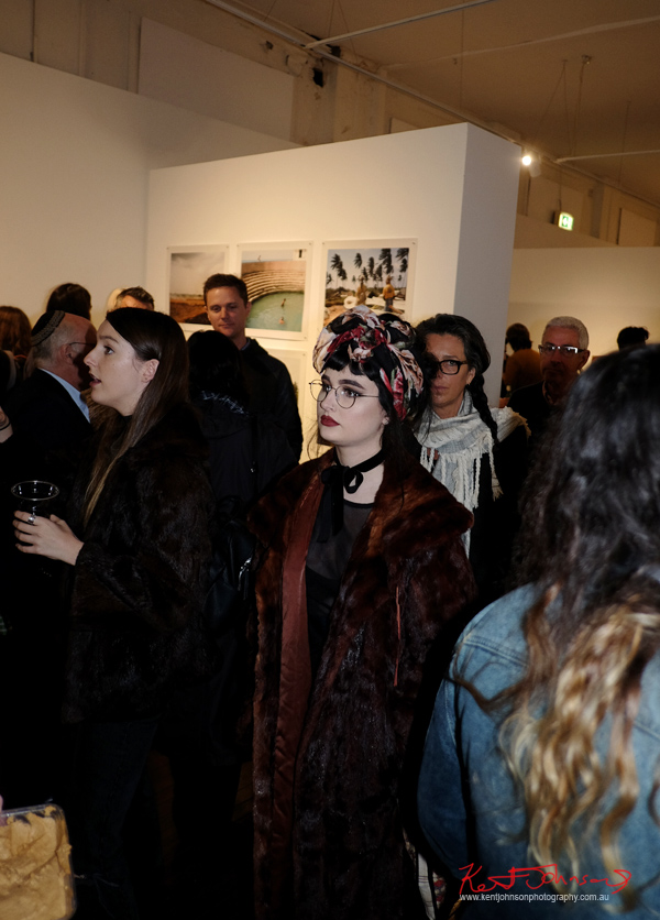 Faux Fur coats, headscarf, art opening Sydney. Photography by Kent Johnson for Street Fashion Sydney.