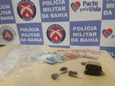 Jovem é preso com droga em Inhambupe e pai do suspeito entrega arma que estava dentro de casa à polícia