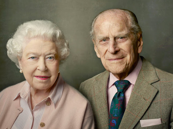 Queen's 90th birthday, shows Queen Elizabeth II with her husband, The Duke of Edinburgh, and was taken at Windsor Castle just after Easter