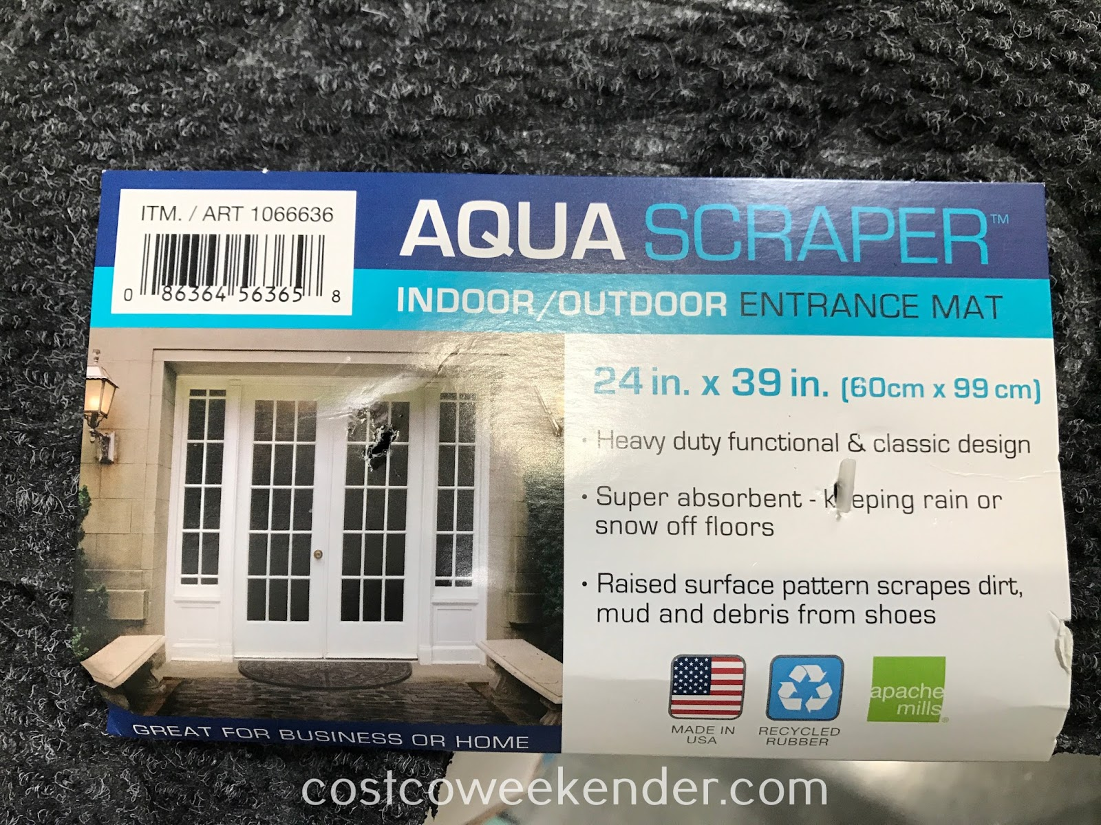 Costco 1066636 - Apache Mills Aqua Scraper Half Round Indoor/Outdoor Entrance Mat: buy one for each doorway into your home