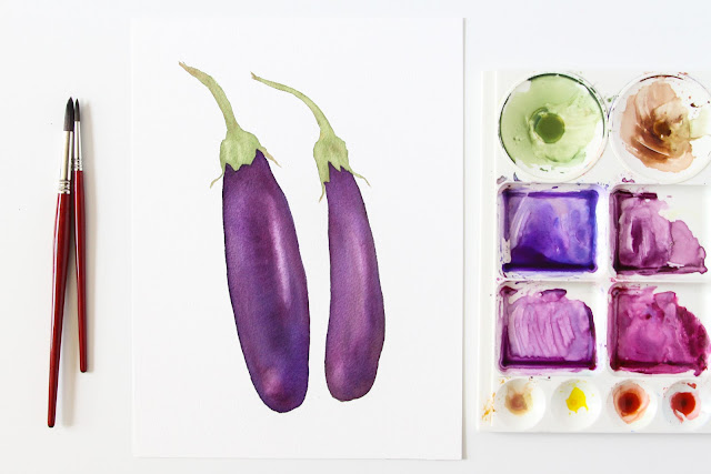 watercolor, eggplant, daily painting, 30 paintings 30 days, Anne Butera, My Giant Strawberry
