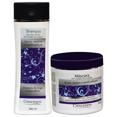 Kit Shampoo e Máscara de Hidratação de Cabelos Secos, Crespos, Opacos e Quebradiços Crescenew