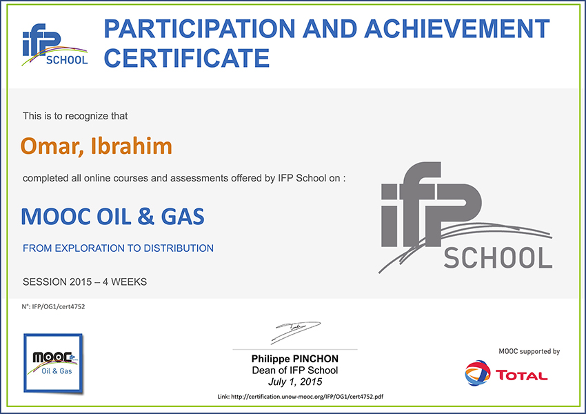 MOOC Oil and GAS, IFP School MOOC