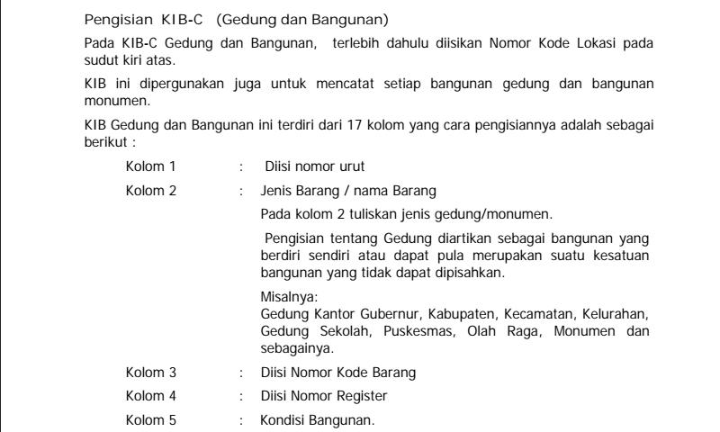 Penjelasan Detail Cara Pengisian Kartu Inventaris Barang (KIB) C Gedung Dan Bangunan dalam Inventaris Barang Sekolah