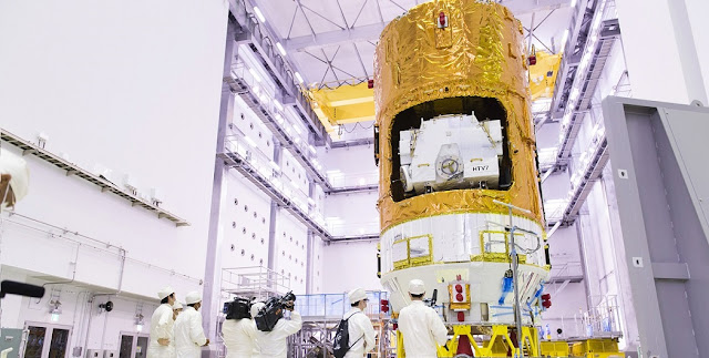 HTV-7 at the Second Spacecraft Test and Assembly Building, the Tanegashima Space Center. Photo Credit: JAXA.