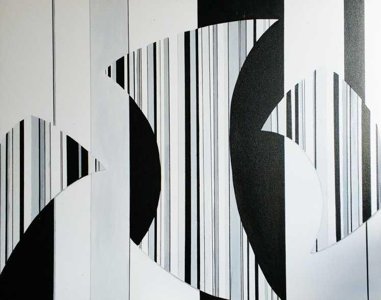 quadro geométrico grande formato em tons de de branco preto e cinza