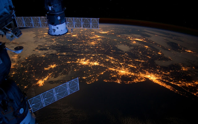 Outer Space lights Planet Earth, Satellite,  New York city, International Space Station