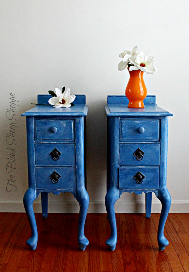 Vintage nightstands with a modern pop of color.