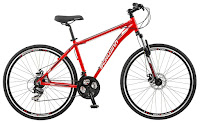 "Schwinn GTX 2.0 700c Men's Dual 18 Sport Bike, with front suspension fork, multi-use 700c tires, Shimano 21 speed trigger shifters, Shimano rear deraileur, Schwinn alloy crank, disc brakes, 18"" medium sized frame"