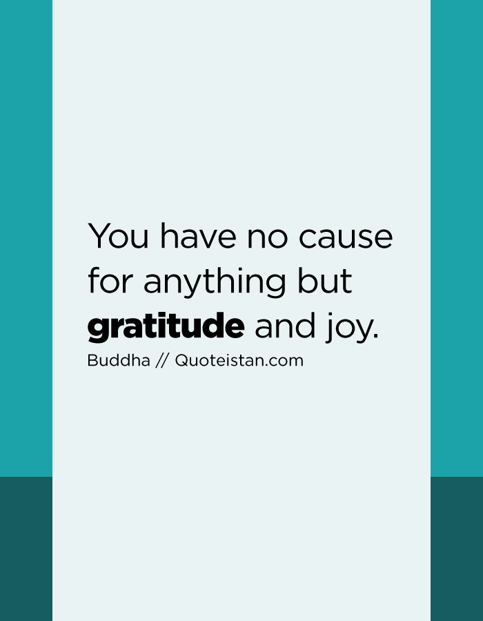 You have no cause for anything but gratitude and joy.