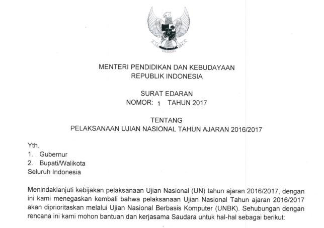 Download Surat Edaran Nomor 1 Tahun 2017 Tentang