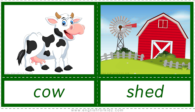 Animal homes and habitats -- cow - shed -- printable flashcards for English learners