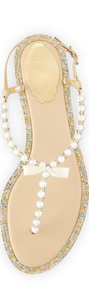 Rene Caovilla Pearly & Crystal Flat Thong Sandal, Champagne