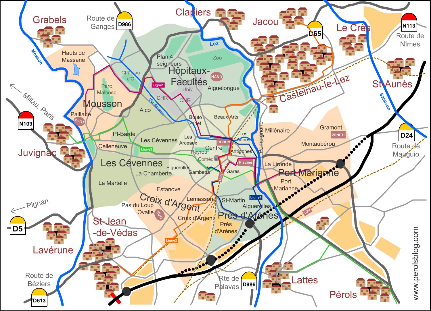 Plan des quartiers de Montpellier