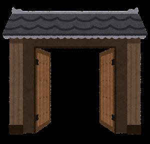 門のイラスト(半開き)