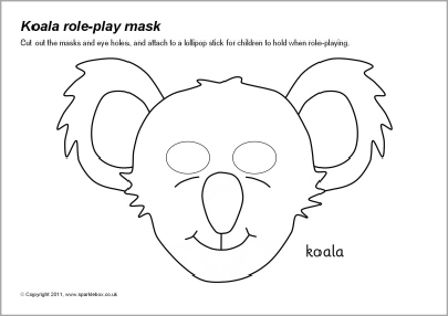 early play templates: Koala masks