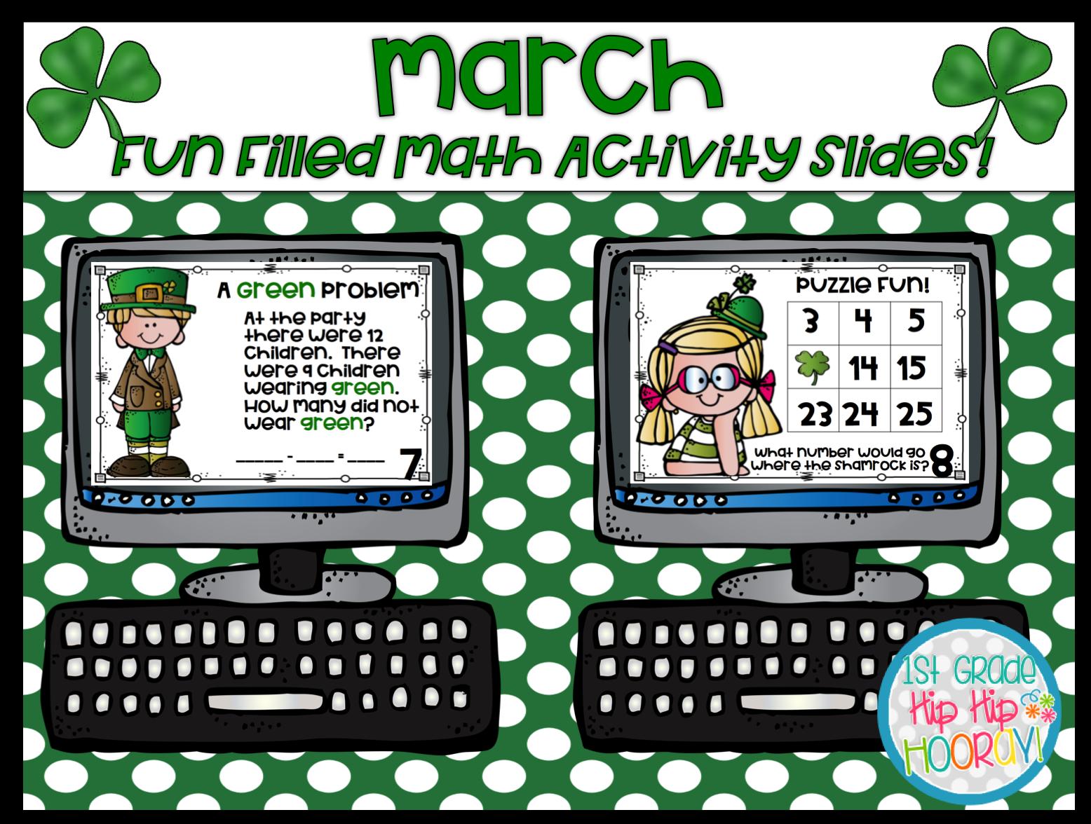 1st Grade Hip Hip Hooray March Fun Filled Math