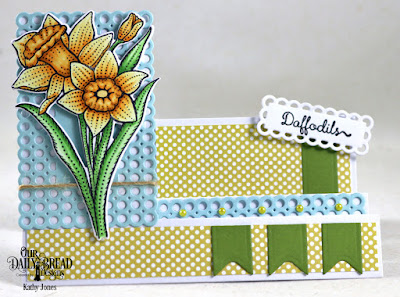 Our Daily Bread Designs Stamp Set: Daffodils, Custom Dies:Daffodil, Circle Scalloped Rectangles, Side Step Card, Pennant Flags, Paper Collection: Plum Pizzazz