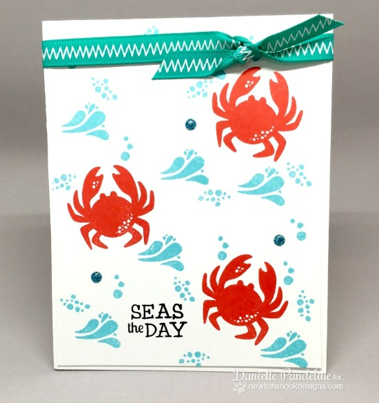Seas the Day Crab Card by Danielle Pandeline | Tranquil Tides stamp set by Newton's Nook Designs #newtonsnook
