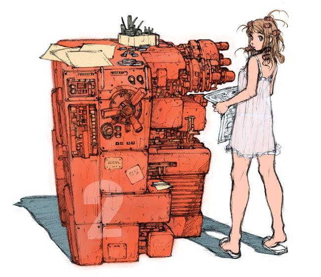 薄い生地のキャミソールを着た女性と、並列する大型の機械