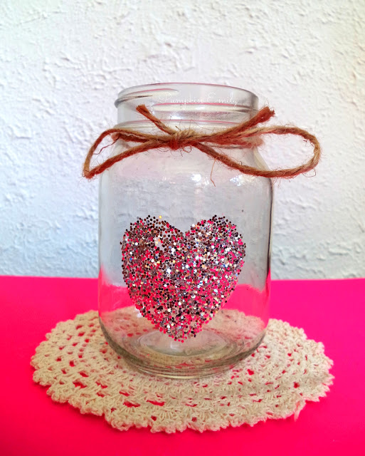 diy glitter heart jar