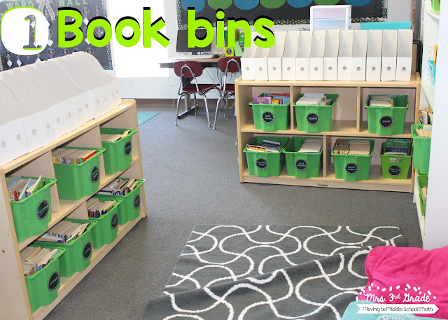 Book bins are a great way for students to keep their reading books organized!  Having your class library organized in bins is always a great way to let students know where they can find books they are looking for!