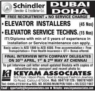 Job vacancies in Schindler Elevator company Dubai and Doha