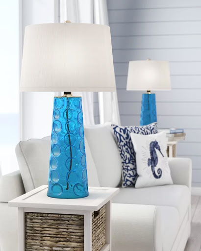 Blue Hammered Glass Table Lamps