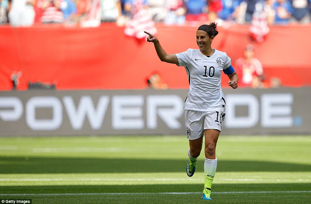 Lloyd celebrates her first goal that gave the USA the lead against Japan at the BC Place Stadium