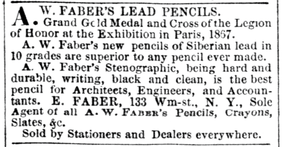 Faber-Castell advertising 1869