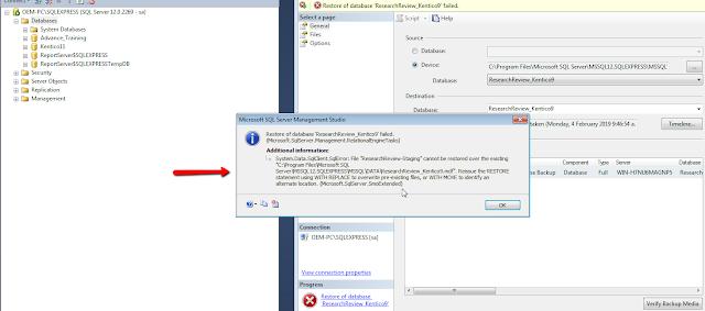 database restore failed