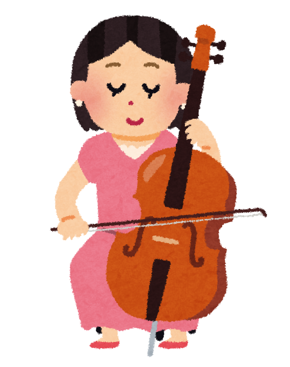 チェロを弾く女性のイラストオーケストラ かわいいフリー素材集