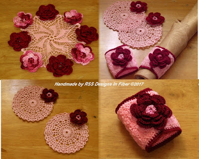 Irish Crochet 3D Rose Decor Set in Red and Pink -- Handmade By RSS Designs In Fiber